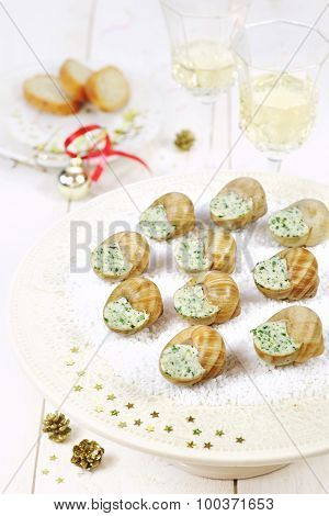 Snails Butter Sauce In The New Year Decor