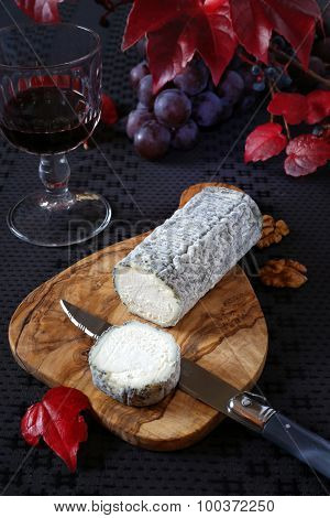 French Blue Cheese, Red Grapes And Wineglass