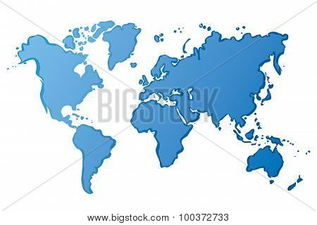 Blue Drawing Map Of The World