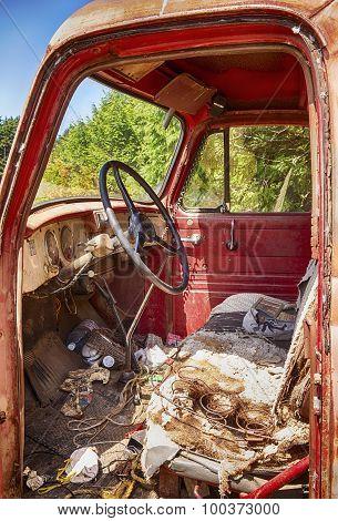 Interior Of Old Red Truck