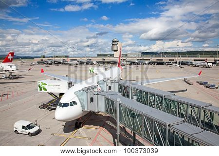 ZURICH - September 21:  Planes preparing for take off at Terminal A of Zurich Airport on September 21, 2014 in Zurich, Switzerland. Zurich airport is one of the biggest european hubs.