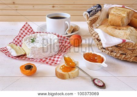 Camembert Cheese, Baguette, Apricot Jam And Cup Of Coffee