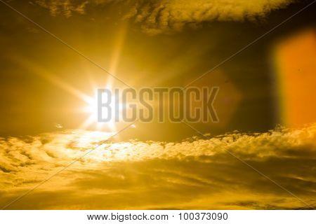 Sun Burst With Lens Flare.
