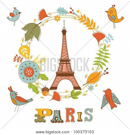 Autumn in Paris. Elegant card with floral wreath, birds  and Eiffel tower