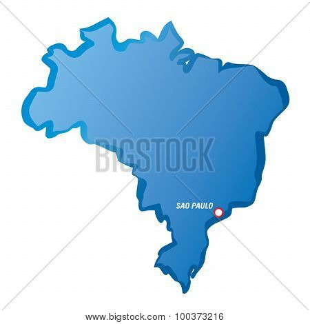 Blue Map Of Brazil And Sao Paulo.
