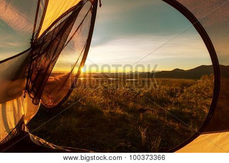 tent in mountains