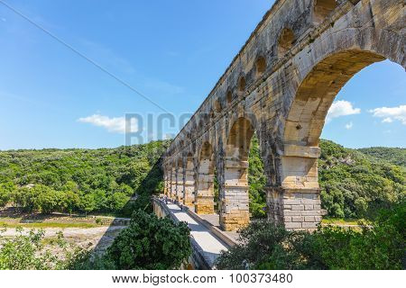 The famous aqueduct from Roman times Pont du Gard. Summer in Provence, sunny day