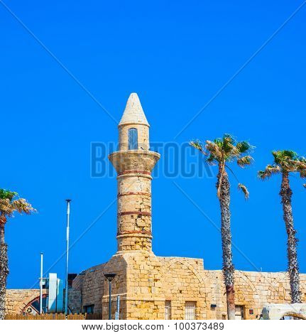 Minaret and fortifications of the Arab period Caesarea. National park Caesarea on the Mediterranean Sea