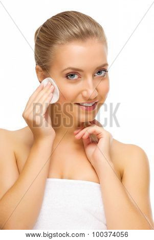 Young healthy woman with wadded disk isolated