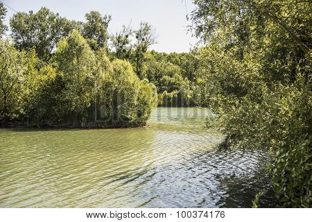Beautiful lake with water peaceful island in France. Stay on a beautiful lake in Ile de France