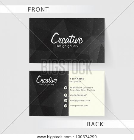 Front and back side presentation of a professional business card design with space for details.