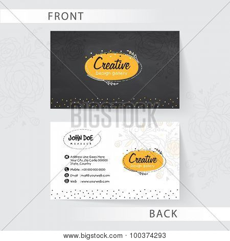 Creative business card set with front and back side presentation for Design Studio.