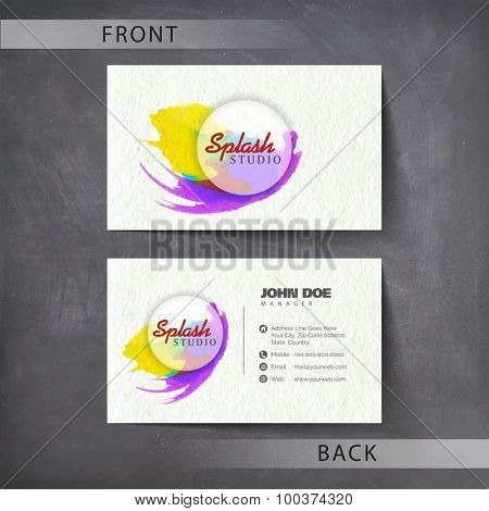 Front and back side presentation of business or visiting card design.
