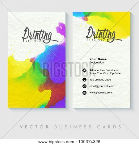 Colorful professional business card design for Creative Industry or Design Studio.