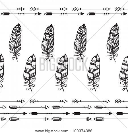 Stylish abstract feathers on shiny background.