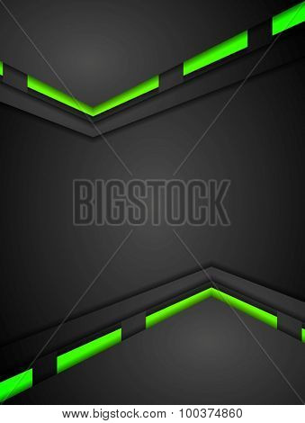 Green and black contrast gradients tech design. Vector background