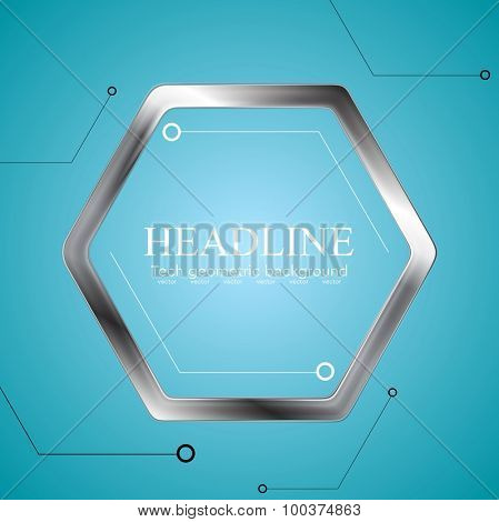 Technology drawing with metal hexagon. Vector background