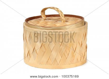 Vintage wicker wooden basket outdoor
