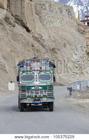 Truck On The High Altitude Srinagar - Leh Road. Lamayuru , India