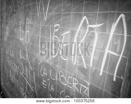 Blackboard In Old Prison