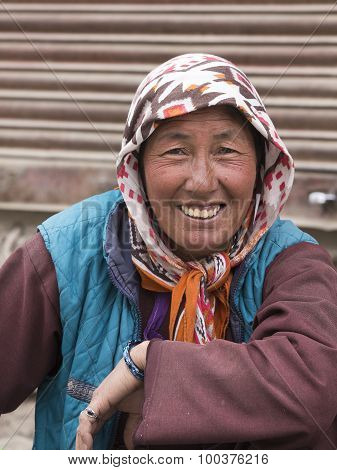 Indian Beggar Woman On The Street In Leh, Ladakh. India