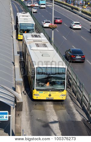 Metrobus Line Through Autobahn In Istanbul, Turkey