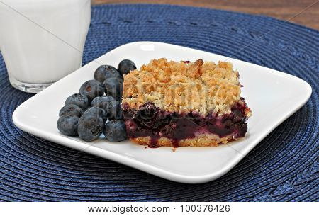 Blueberry Bar Cookie And Milk.
