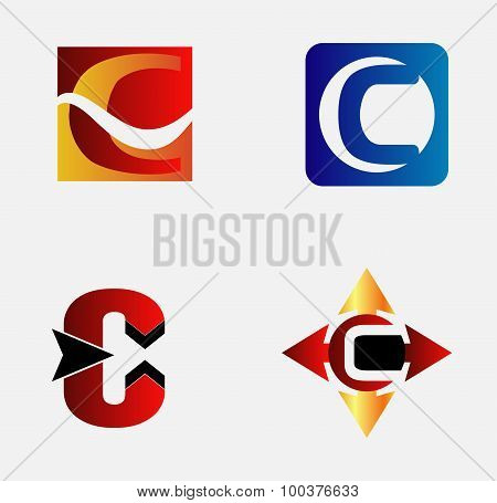 Letter C logo design sample set