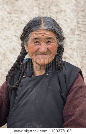Portrait Old Woman On The Street In Leh, Ladakh. India