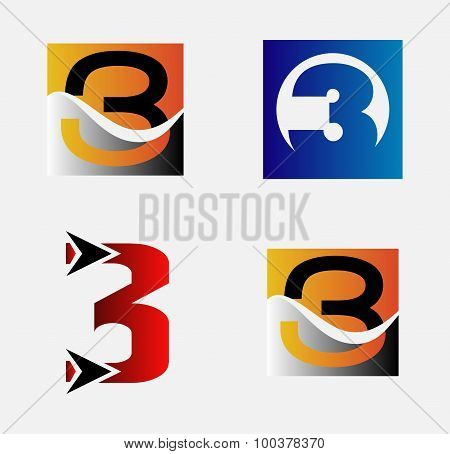 Number three 3 logo vector