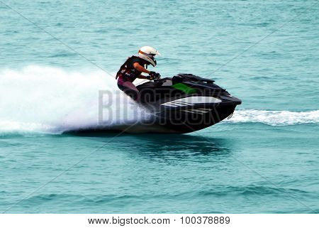 Man On High Speed Jet Ski