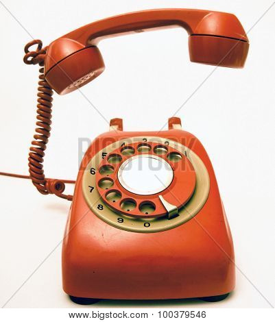 retro red phone ringing of the hook