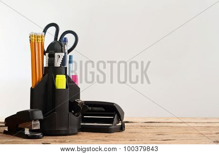 Stationery On Wooden Table On A Gray Background