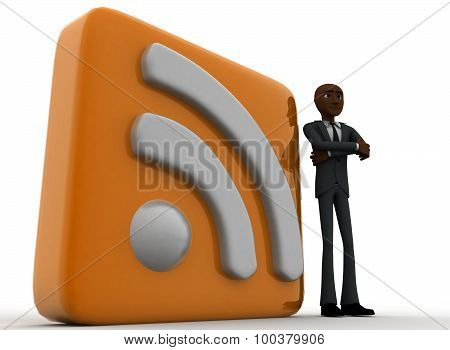 3D Man Standing Beside Rss Feed Concept