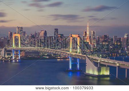 Tokyo bay and Tokyo rainbow bridge in evening