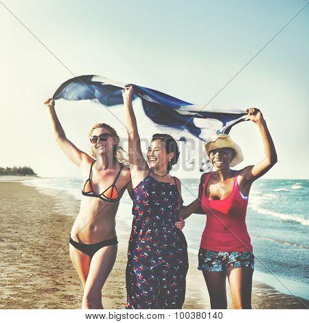 Femininity Girls Summer Beach Vacations Concept