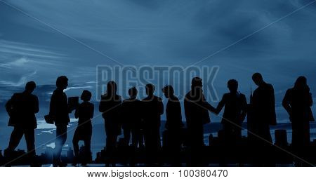 Business people Team Twilight Cityscape Concept