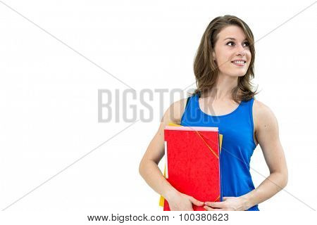 woman with a folder on a white background