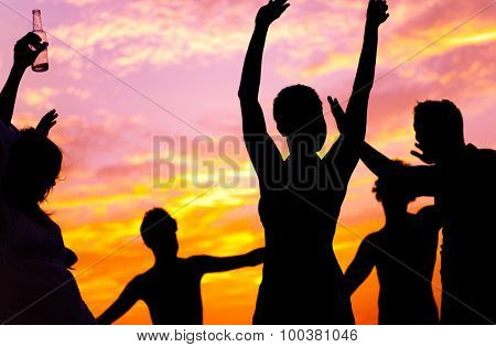 Friends Vacations Beach Party Dancing Concept
