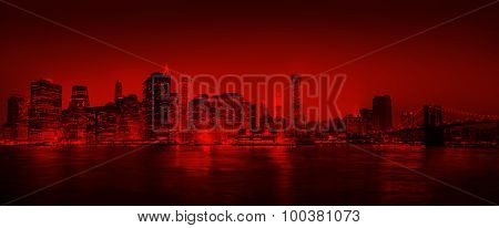red Panorama Of New York City Concept