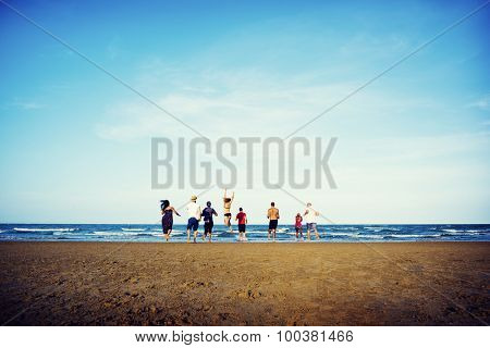 Summer Togetherness Friendship Beach Vacation Concept