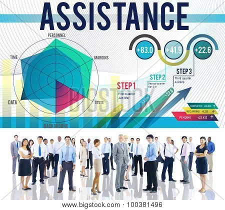Assistance Aid Support Team Corporate Concept