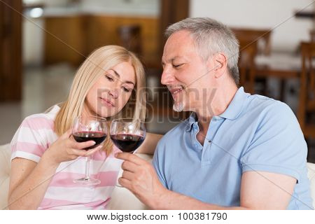 Senior couple drinking a glass of red wine