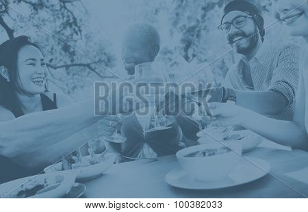Friends Drinking Lunch Outdoors Party Concept