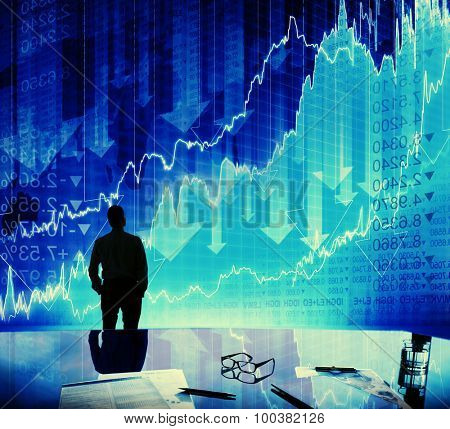Silhouette Businessman Discussion Stock Market Concept
