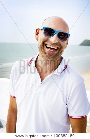Handsome Man Beach Vacation Lifestyle Portrait Concept