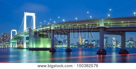 View of Tokyo bay with Tokyo tower and Tokyo rainbow bridge