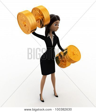 3D Woman Exercise With Golden Dumbell Concept