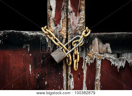 Old Master Key On Old Wooden Doo