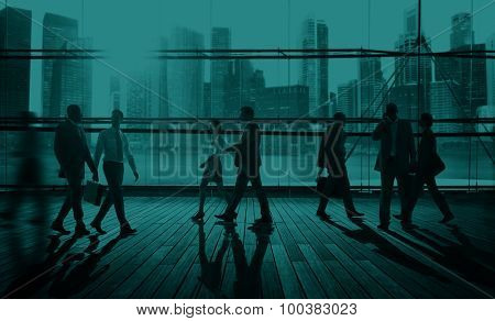 Business People Commuter Travel Walking Corporate Concept